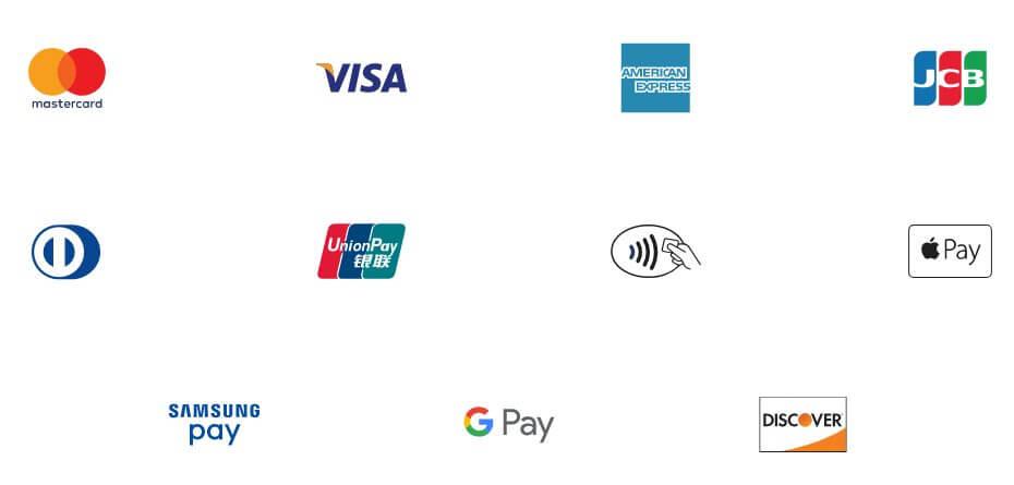 im Bild die Logos verschiedener Kreditkartenanbieter und weiterer Bezahlmethoden wie Google Pay