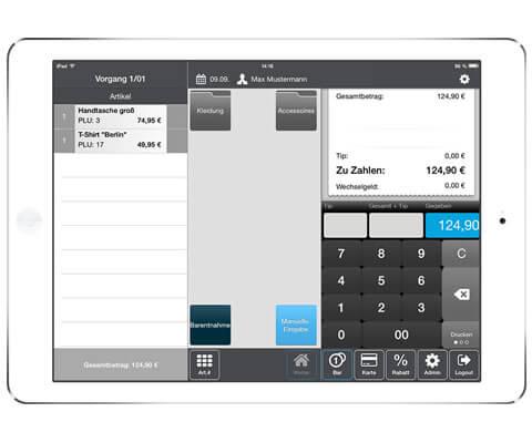 Das Bild zeigt ein ipad mit der SumUp-App