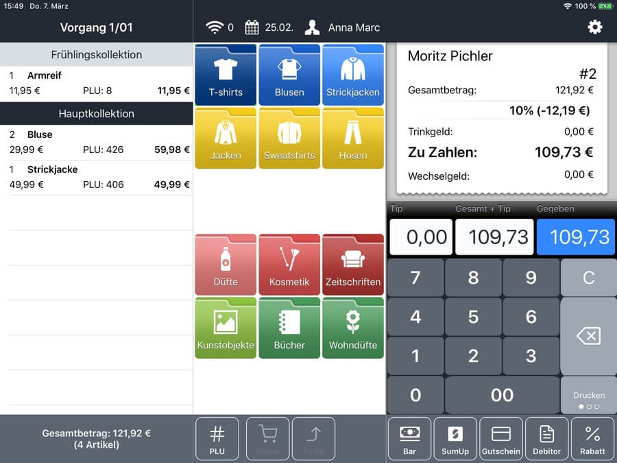 im Bild ein Screenshot von sumup der software im einsatz