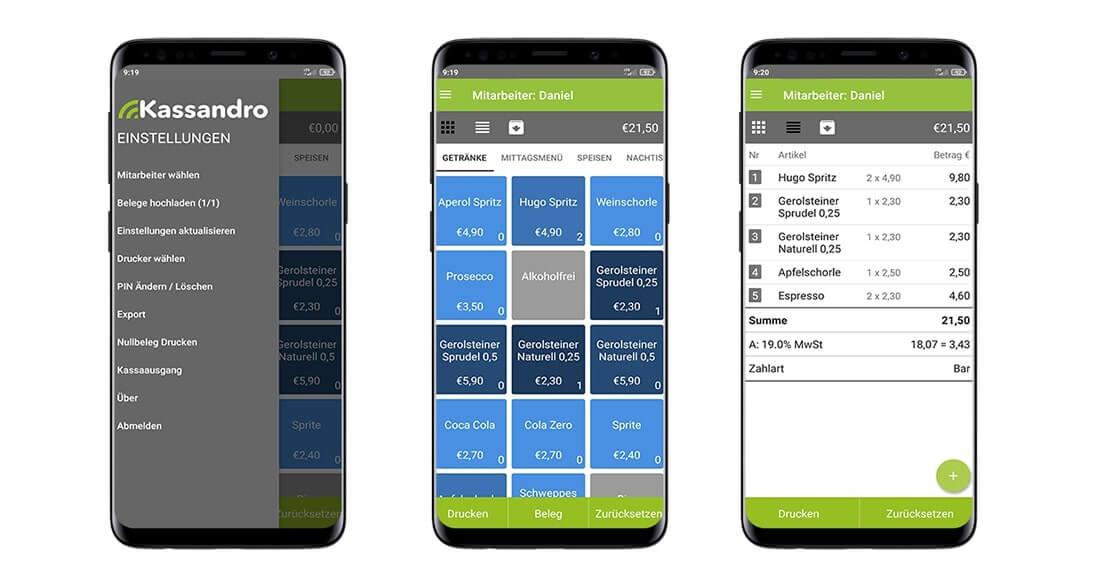 Kassandro Kassensystem auf einem mobilen Endgerät