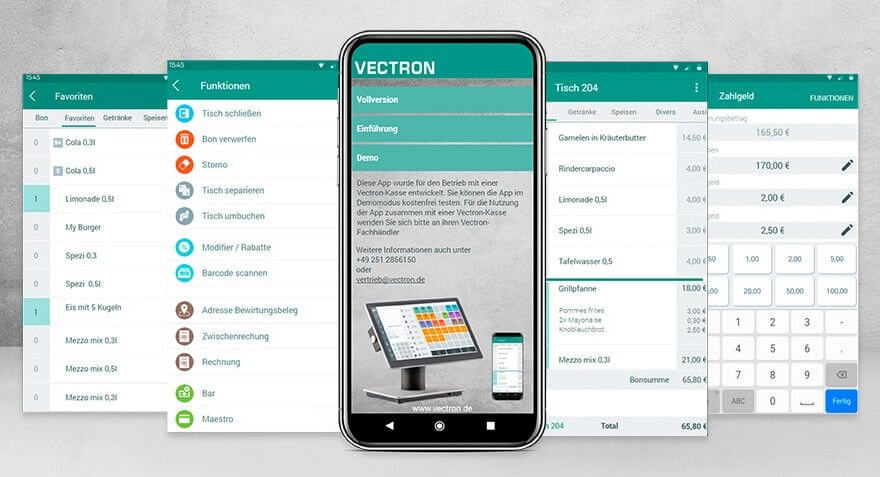 Vectron Mobile App im Bild dargestellt