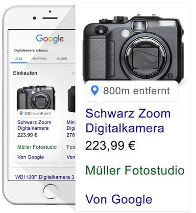 Da Bild zeigt, wie Produkte in der lokalen Suche mit Hilfe von Locafox bei Google hervorgehoben werden