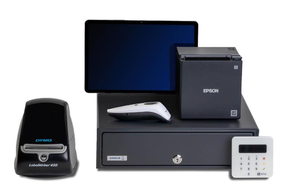 Hardware von Locafox mit Kassenschublade, Kartenleser und Monitor
