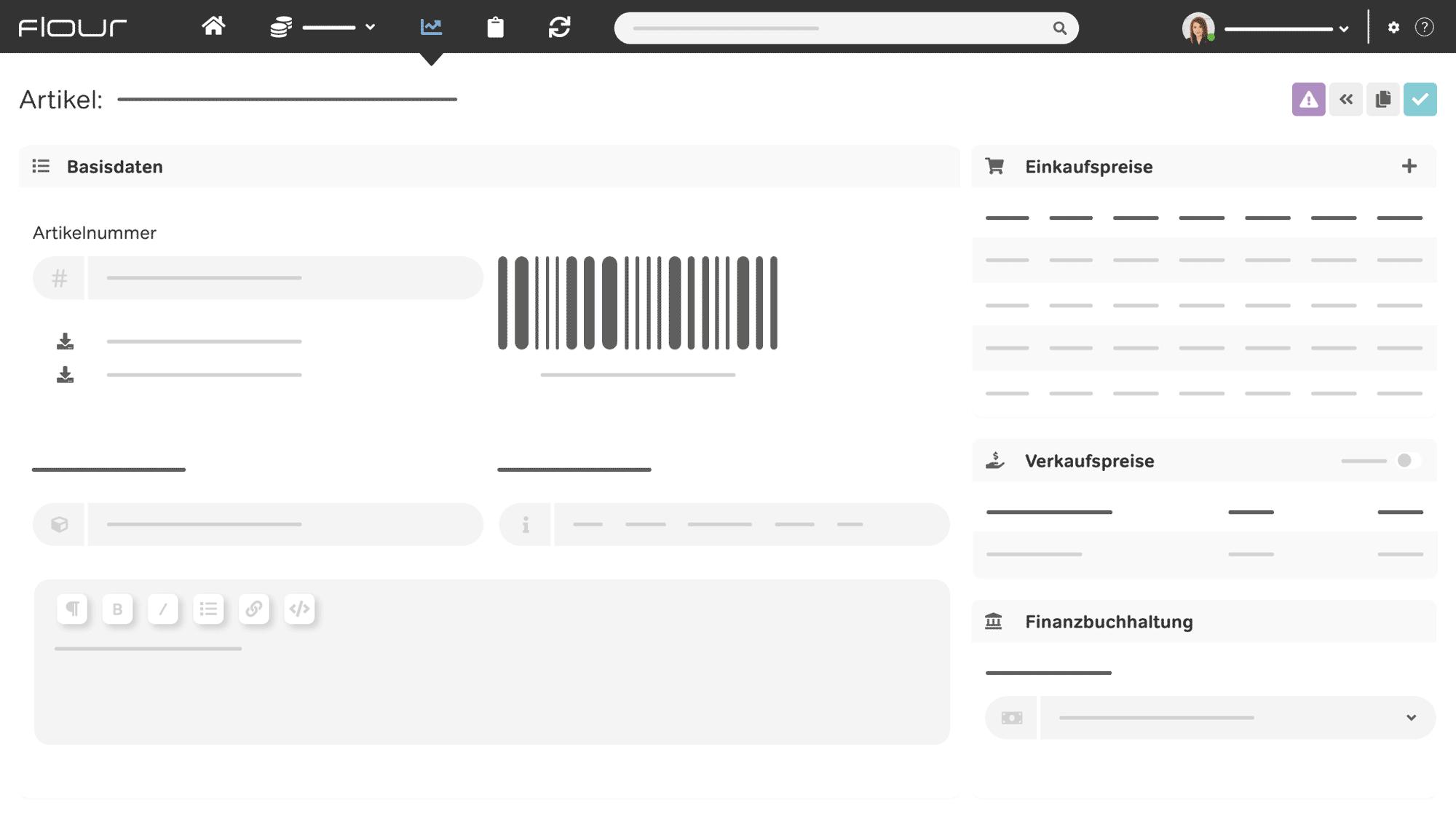 flour Kassensystem Screenshot Artikelverwaltung