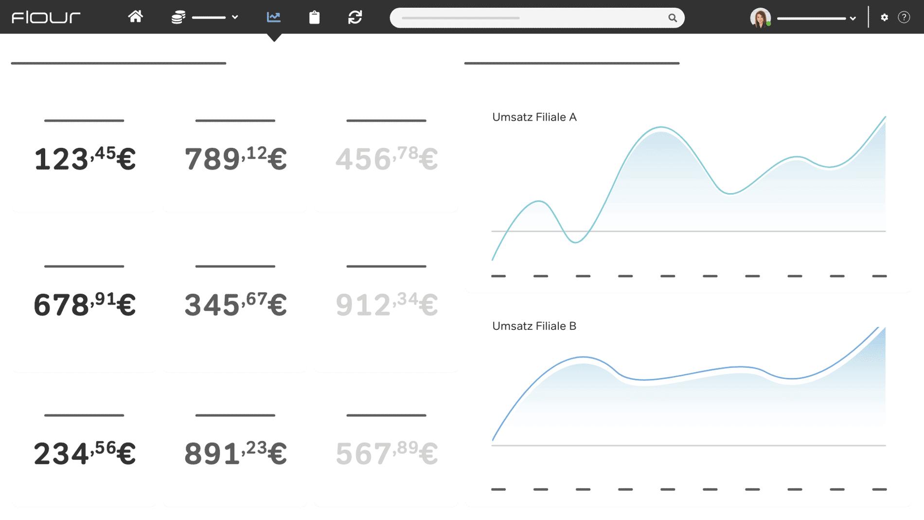 flour Kassensystem Screenshot Statistiken und Auswertungen