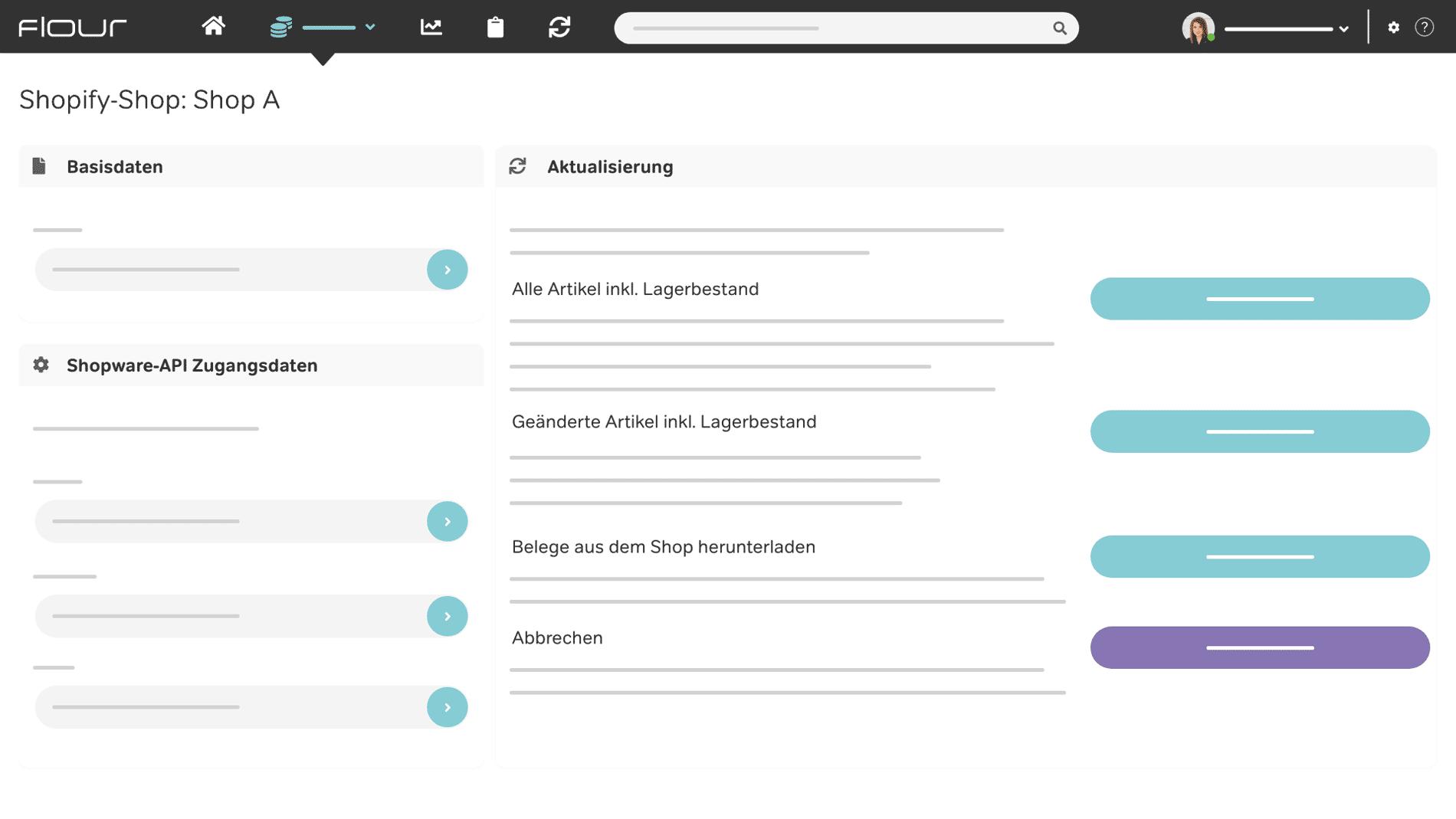 flour Kassensystem Screenshot Marktplatzanbindung