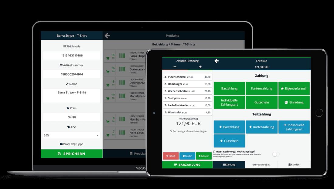 ready2order app auf einem Tablet oder Laptop