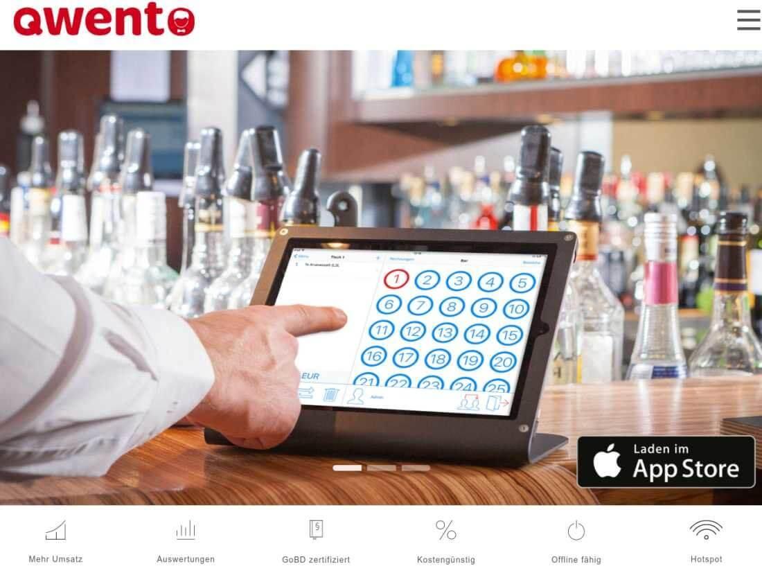 Screenshot der Startseite von Qwento