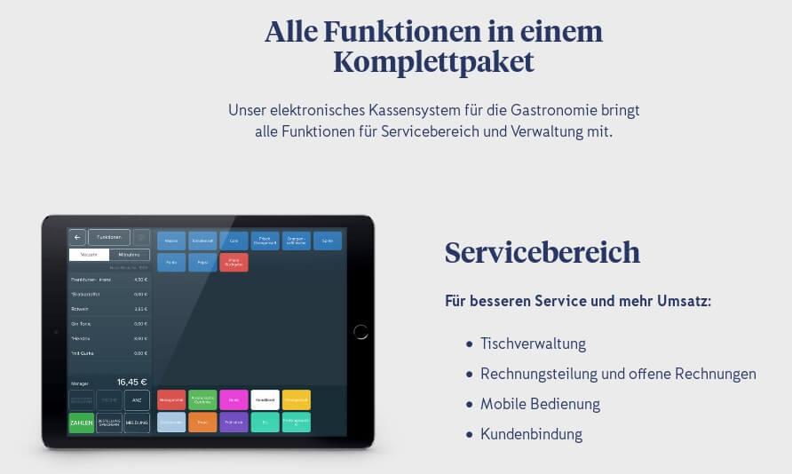 Screenshot Funktion Servicebereich bei iZettle
