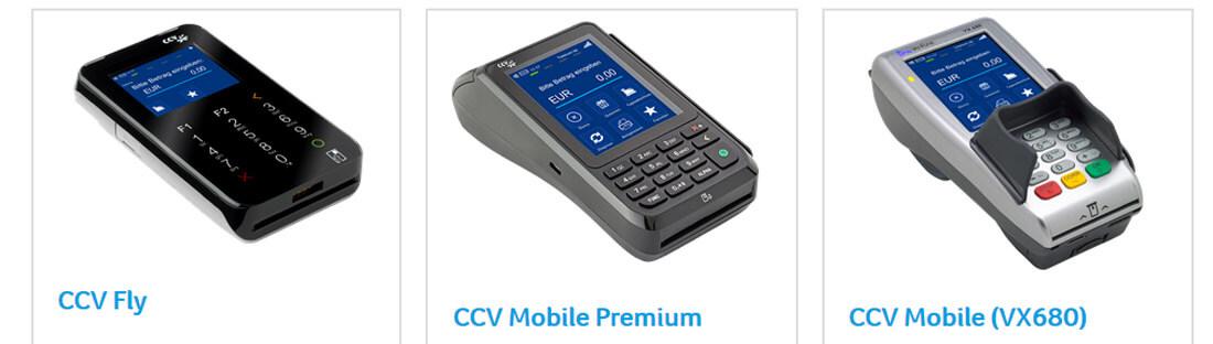 Drei mobile Kartenlesegeräte des Anbieters CCV.