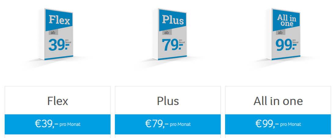 Tabelle mit drei Preis-Paketen für das Kassensystem CCV