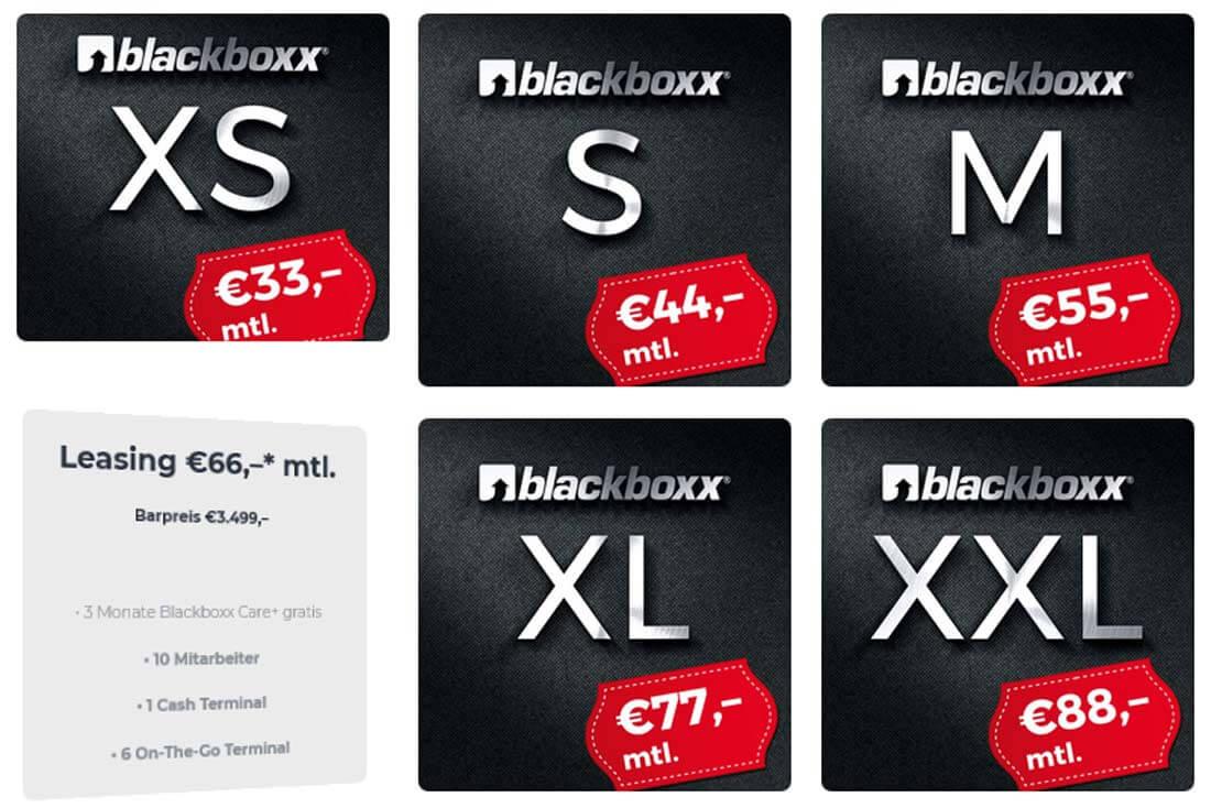 Sechs Boxen mit Preisinformationen für eine Kassen-App