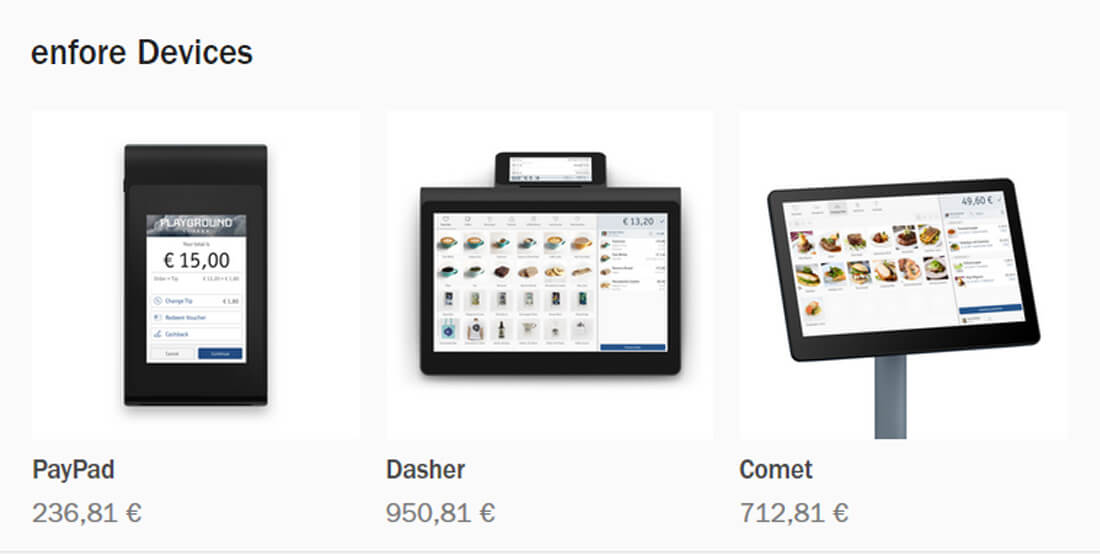 PayPad, Dasher und Comet - Hardware im enfore Online-Shop.