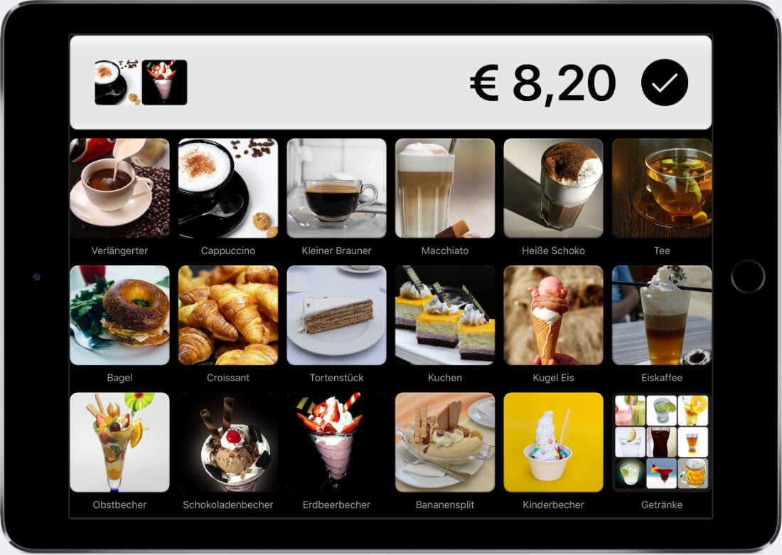 Dashboard Kassensystem QuickBon mit Café-Artikeln zum Auswählen zum Bezahlen.