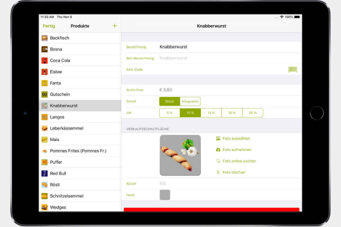 Bildschirm eines iPads mit der Software QuickBon
