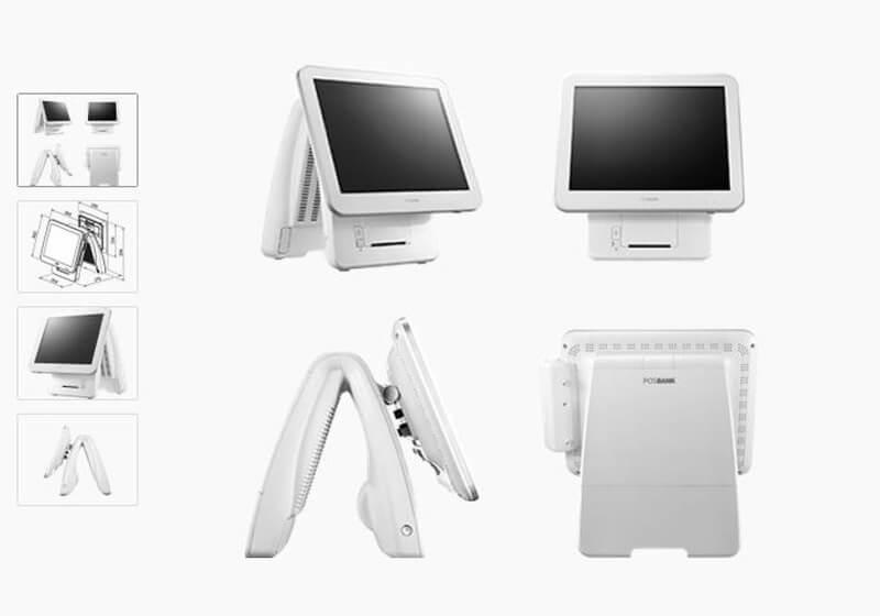 Computermonitor für das Kassensystem SDS in Aufnahme aus vier Perspektiven