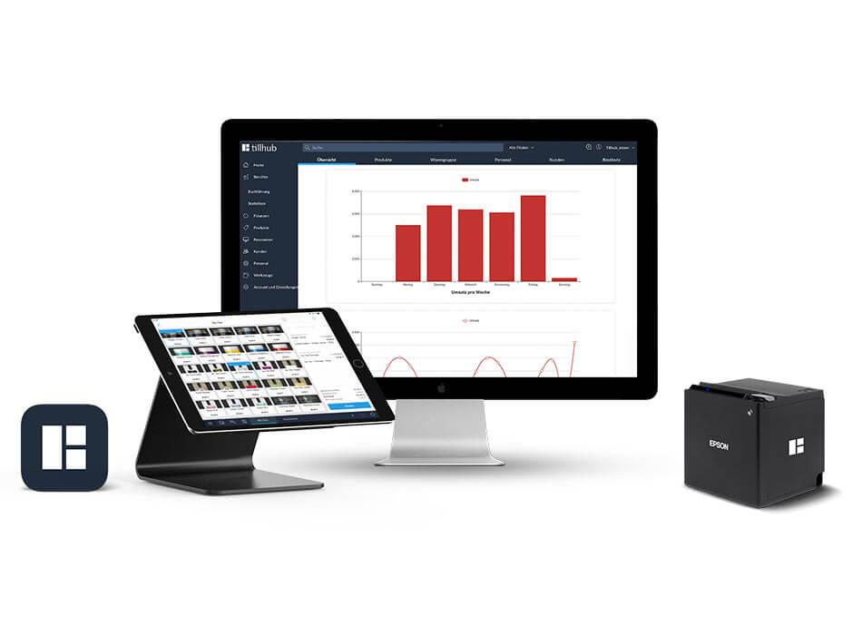 Blick in das Dashboard des tillhub-Kassensystems mit Berichterstellung und Analysen