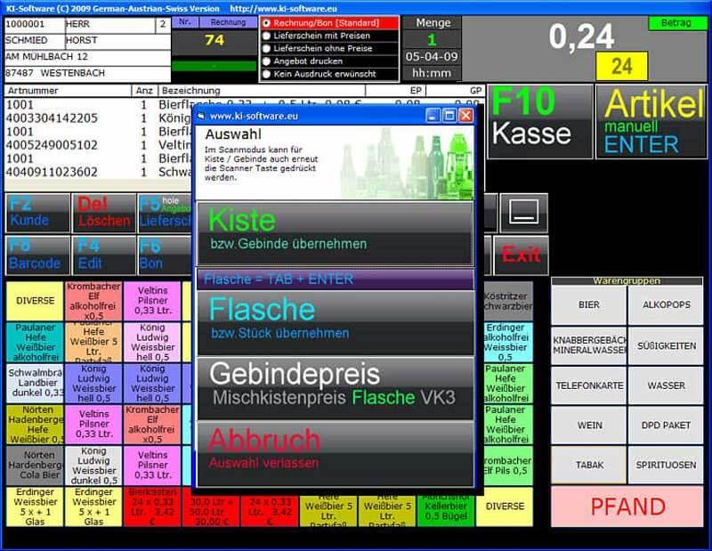 Dashboard des Kassensystems Kühemann speziell für den Getränkefachhandel mit Blick auf die Auswahl zwischen Kiste und Flasche als Produkt.