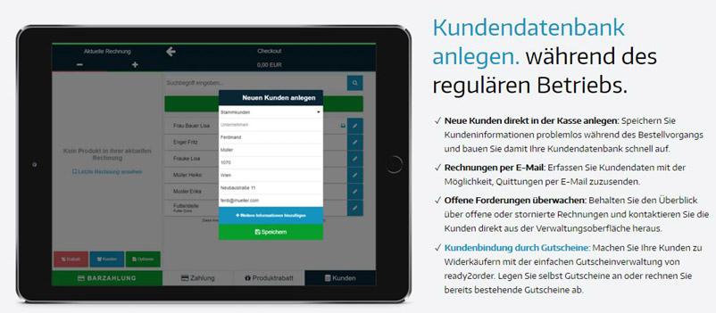 Dashboard des Kassensystems ready2order mit Fokus auf Kundendaten-Pflege.