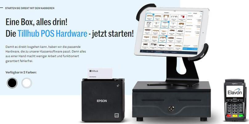 Das Kassensystem von Tillhub als Paket, bestehend aus Kasse, Drucker und Scanner.