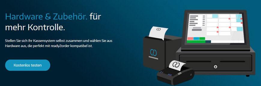 Das Kassensystem von ready2order im Paket: Kasse, Lade, Drucker, Kartenlesegerät.