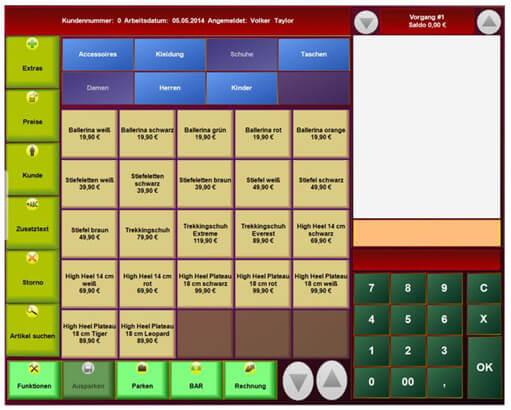 Blick in das Dashboard des Kassensystem PosBill mit Übersihct über Waren.