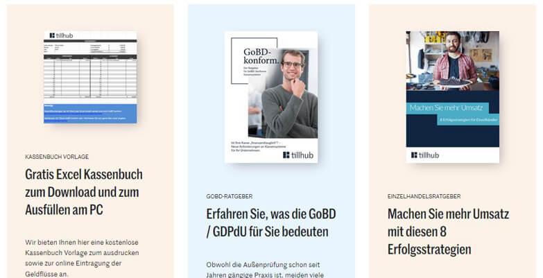 Screenshot des Blogs des Kassensystems Tillhub mit Kassenbuch-Downloads und weiteren Hilfen für deine Kasse.
