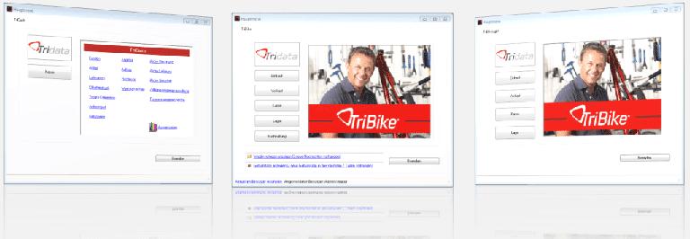 Webseite von TriBike mit drei Angeboten für Kassensysteme für Fahrradhandel nebeneinander in Übersicht