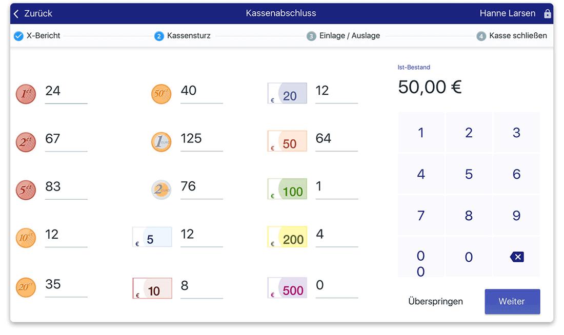 Blick in das Dashboard von LocaFox POS: Umsatzberichte udn Tagesabschluss auf einer Seite.