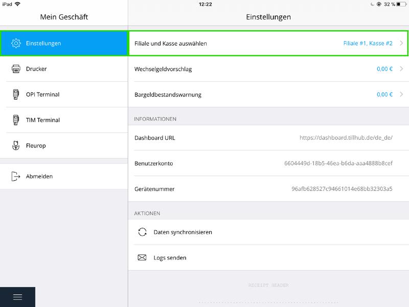 Dashboard des Kassensystems Tillhub mit Screen zur Ersteinrichtung und Filialverwaltung.