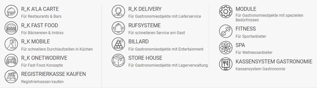 Das Menü der Webseite UCS R-Keeper zeigt die verschiedenen Anwendungsbereiche der Kasse auf, von Gastronomie zu Spa.