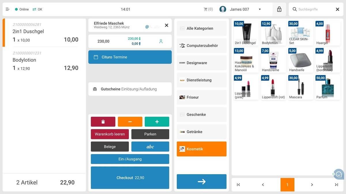 Screenshot Etron Kassensystem 2