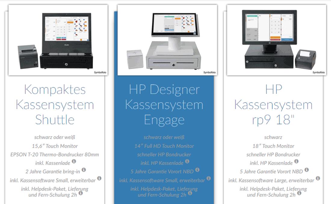 Hardware-Pakete des Kassensystemanbieters ETRON: POS, Kassenlade, Monitor, Drucker