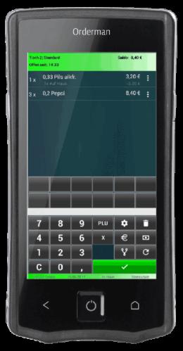 Grafik eines Smartphones mit Orderman- App für das Kassensystem Amadeus360