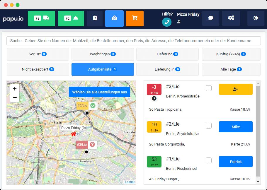 Bild: Auf der Karte kann das Restaurant in Echtzeit sehen, wo die Fahrer sich befinden